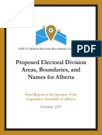 Proposed Electoral Division Areas, Boundaries, and Names for Alberta