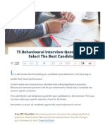 75 Behavioural Interview Questions to Select the Best Candidate