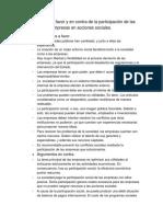 Argumentos a Favor y en Contra de La Participación de Las Empresas en Acciones Sociales
