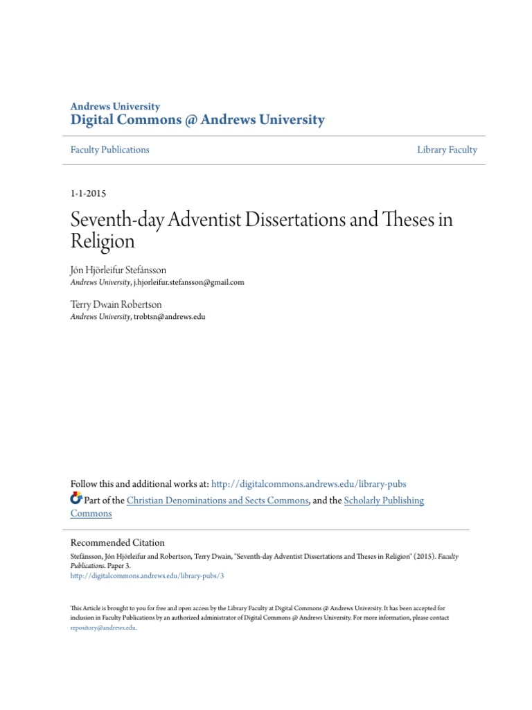 Seventh-day Adventist Dissertations and Theses in Religion   Thesis ...