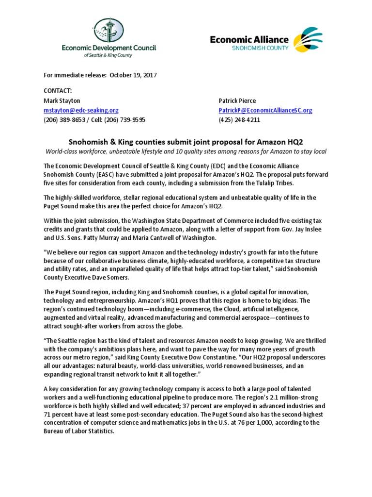 King & Snohomish County Amazon HQ2 Proposal | Seattle | Washington