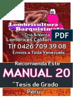 LOMBRICULTURA VENEZUELA, Manual 20 Tesis de Grado Peru LOMBRICES CALIFORNIANAS