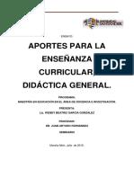 Aportes para la enseñanza curricular, Didáctica General.