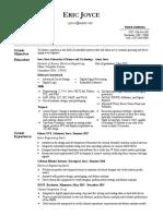 eric joyce resume current