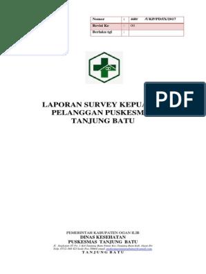 Laporan Survey Indeks Kepuasan Pelanggan Di Puskesmas