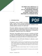 Articulo Alcances Del Articulo 14 de La Decisión n578 Comunidad Andina Regimen Para Evitar Doble Tributacion Ipat 2016