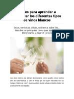 Claves Para Aprender a Reconocer Los Diferentes Tipos de Vinos Blancos