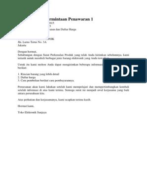 Contoh Surat Permintaan Penawaran 1 2docx