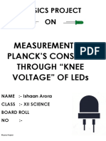 Physics Project on DETERMINATION OF PLANCK'S CONSTANT