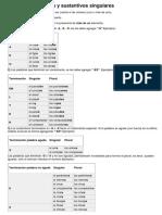 Sustantivos Plurales y Sustantivos Singulares