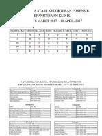 Jadwal Jaga Stase Forensik 2017