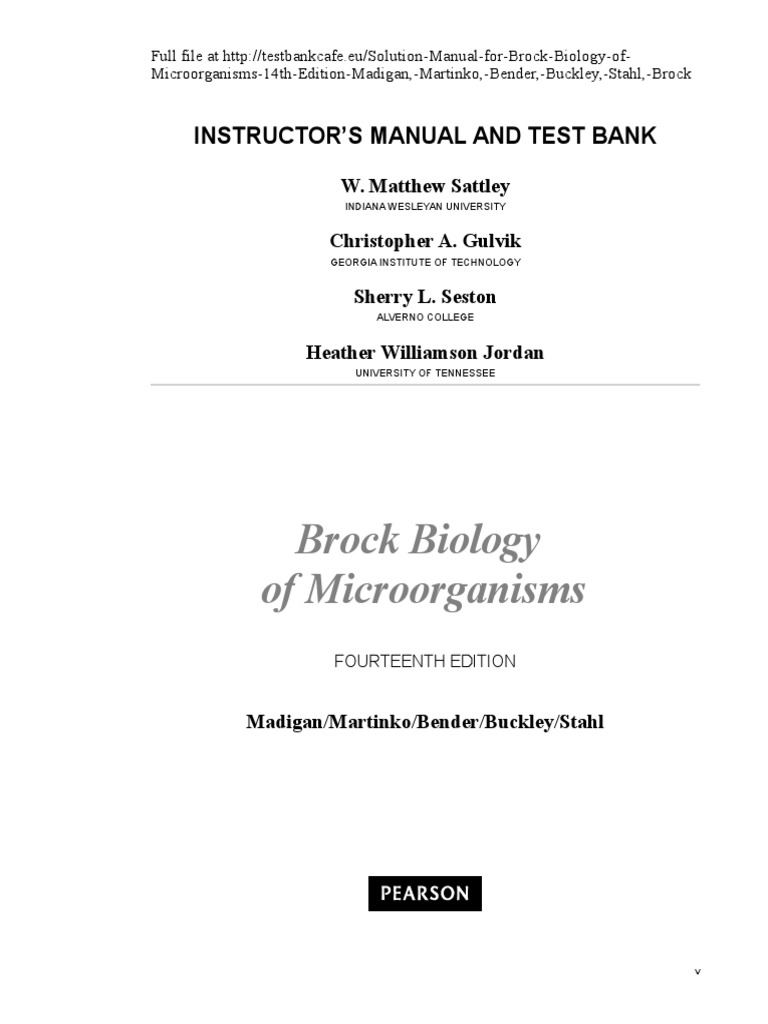 323661650 Solution Manual for Brock Biology of Microorganisms 14th Edition  Madigan Martinko Bender Buckley Stahl Brock | Microorganism | Bacteria