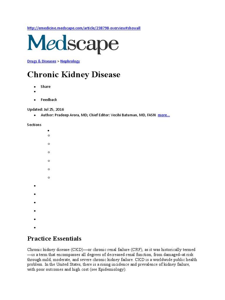 Ckd Medscape Chronic Kidney Disease Renal Function