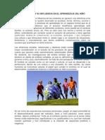Contexto Social y Su Influencia en El Aprendizaje Del Niño
