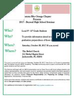 Beyond High School Seminar 2017 - Informational Flyer