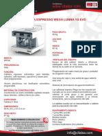 Medidas Máquina Espresso Wega Lunna