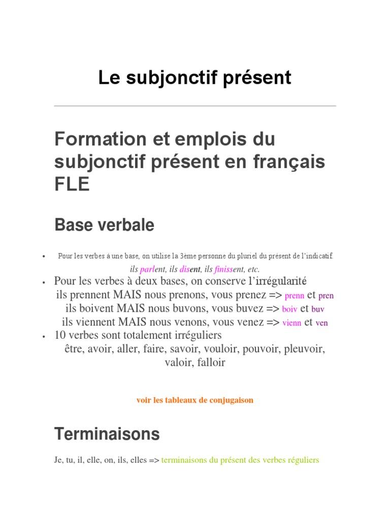 Conjugaison Du Verbe Valoir Au Subjonctif Present