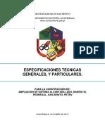 Especificaciones Tecnicas Ampleacion Sistema de Alcantarillado Sanitario, Barrio El Pedregal, San Benito, Peten