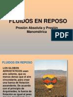 Fluidos en Reposo - Presion Absoluta y Presion Manometrica