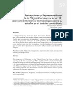 Imaginarios, Percepciones y Representaciones Sociales de la Migración Internacional