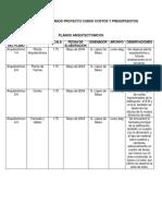 Inventario de Planos Proyecto Curso Costos y Presupuestos