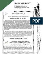 November 2001 Woodpecker Post Newsletter, Columbia Audubon Society