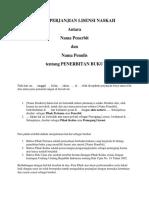 Surat Perjanjian Lisensi Naskah