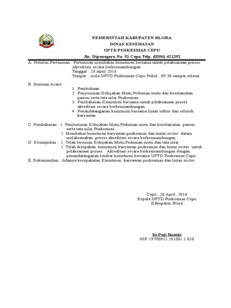 311c Notulen Dan Surat Pernyataan Komitmen Bersama Uptd