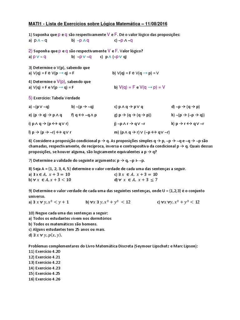 Lista De Exercícios Sobre Lógica Matemática 1