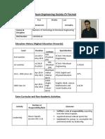 Sample PETROTECH CV Format