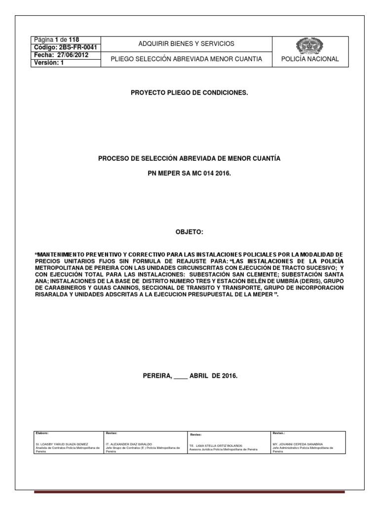 5. PROYECTO DE PLIEGO DEFINITIVO PROCESO_SELECCIÓN_ABREVIADA - PN ...