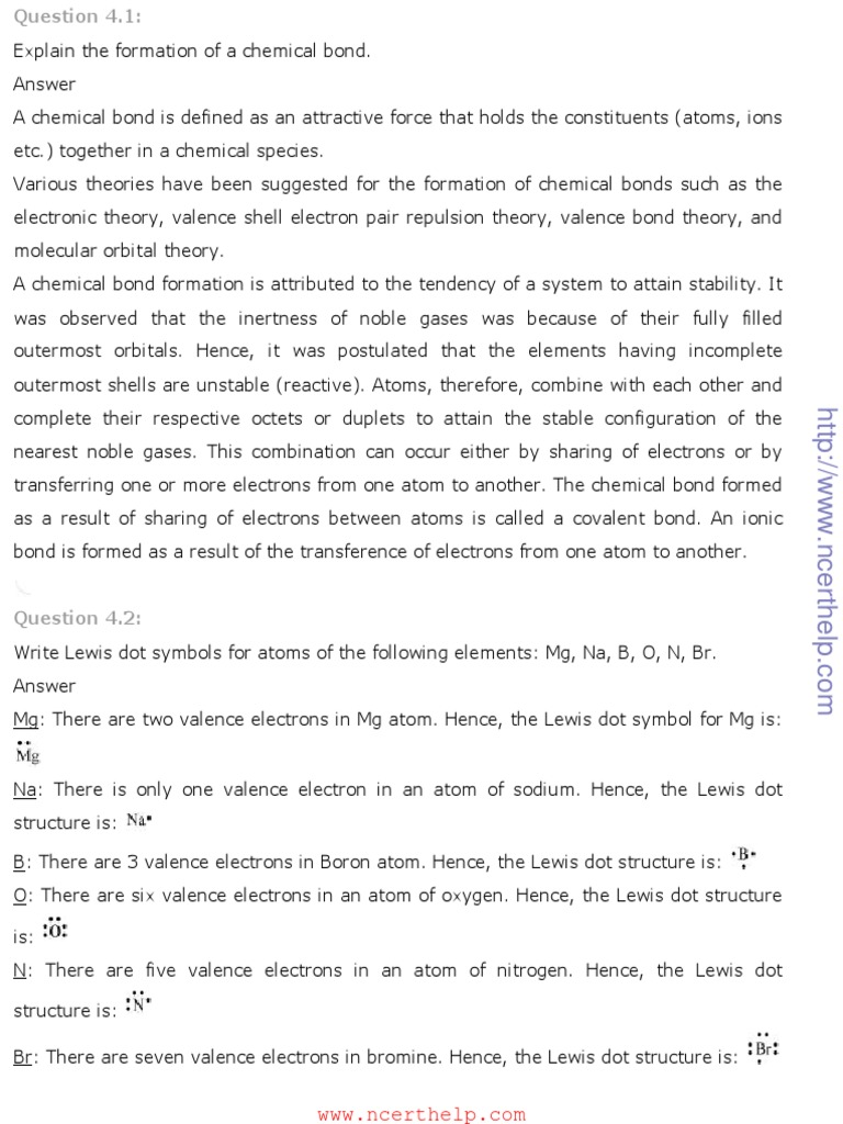 Ncert solutions for class 11 chemistry chapter 4 chemical bonding ncert solutions for class 11 chemistry chapter 4 chemical bonding and molecular structurepdf chemical bond chemical polarity pooptronica