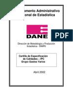 Cartilla de Especificaciones de Calidades Grupo Gastos Varios IPC (1)