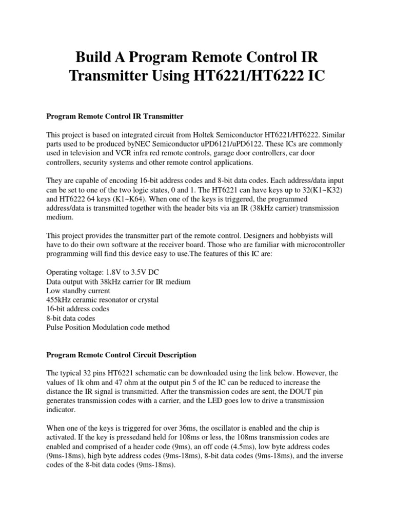 Build A Program Remote Control Ir Transmitter Using Ht6221docx Infrared Circuit Remotecontrolcircuit