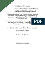 2018 Roman Catholic Traditional Rite Calendar