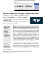 Estrategias Para Potenciar El Aprendizaje Motor en El Tratamiento Vocal de Las Enfermedades Neurodegenerativas