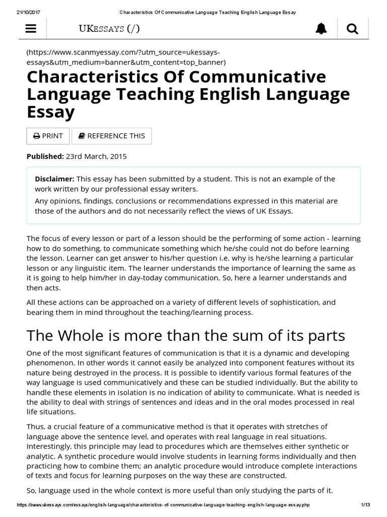 Characteristics Of Communicative Language Teaching English Language Essay |  Language Education | Second Language
