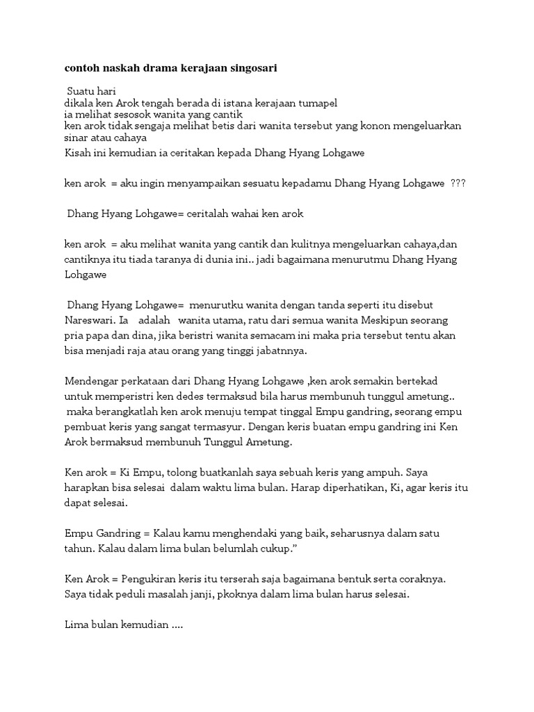 Contoh Drama Kerajaan Singosari