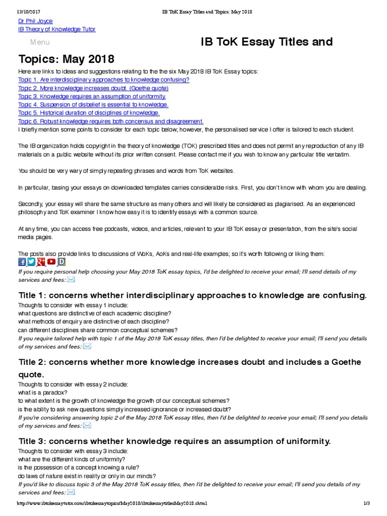 ib tok essay questions Here are the eight areas of knowledge that a student in an ib program must   choosing tok essay titles 2017: understanding the questions.