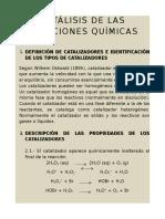 CATÁLISIS DE LAS REACCIONES QUÍMICAS