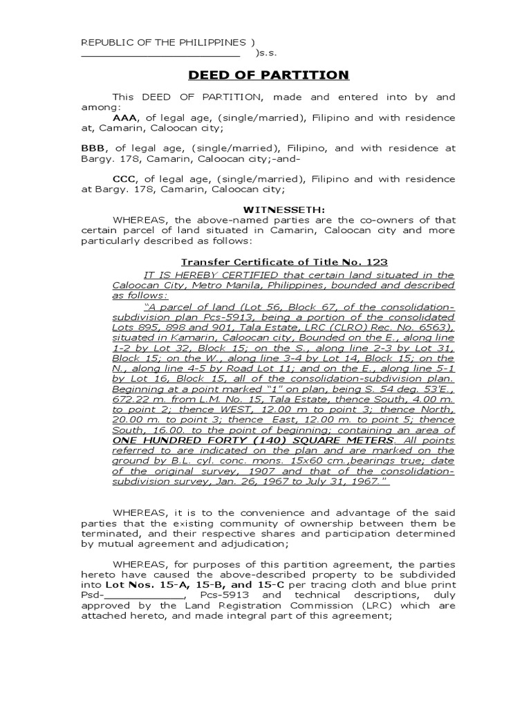 Sample Deed Of Partition Land Lot Property Law