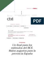 Un Final Para Los Estímulos Del BCE. Malos Augurios Para La Provincia España. Ctxt.es
