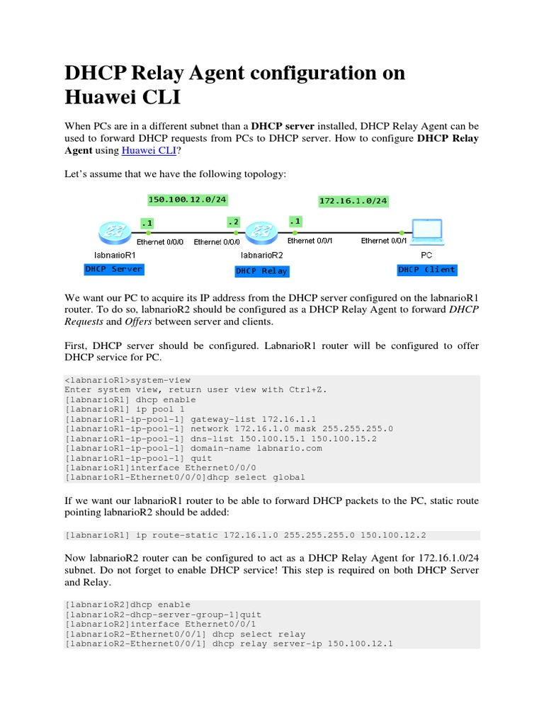 Dhcp Relay Agent Configuration on Huawei Cli | Dirección IP | Router