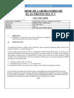 Informe Ley de Ohm electrotecnia