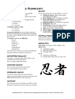 Ninja Crusade 2e Cheat Sheets