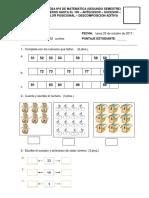 prueba de matemática 1º básico