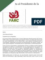 Carta Abierta Al Presidente de La República - Consejo Político Nacional-Fuerza Alternativa Revolucionaria Del Común