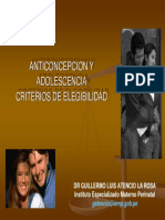 Anticoncepcion y Adolescencia Criterios de Elegibilidad