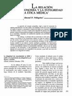 Lecturas-sesion 2-l a Relación Entre La Autonomía y La Integridad en La Ética Médica' Edtmnd d. Pellegino'
