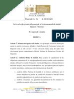 PL 014-16 Monto de Los Aportes de La Nacion Para Atender La Salud Del Magisterio Colombiano